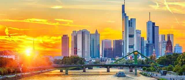 Frankfurt am Mine at sunset, Germany