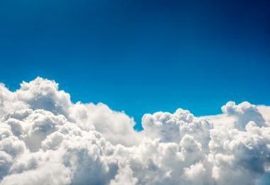 Blue clouds and sky. Natural cloudscape background