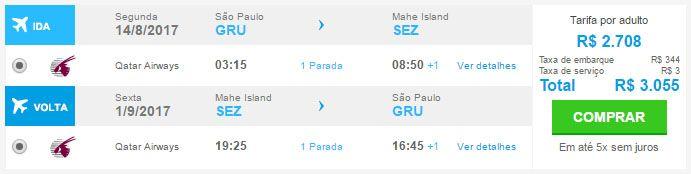 voos promocionais para seychelles
