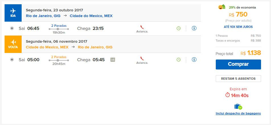 voos promocionais cidade do méxico