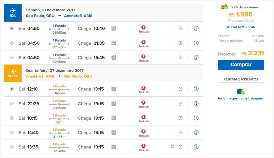 passagens aéreas em promoção amsterdã 2017
