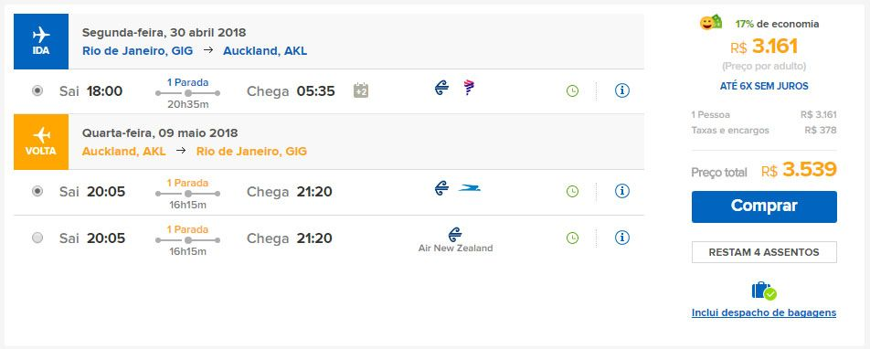 passagens aéreas promocionais nova zelândia 2018