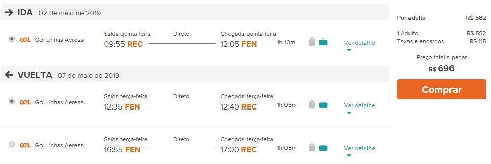 passagens fernando de noronha brasil
