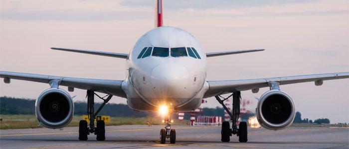 avião com a luz ligada