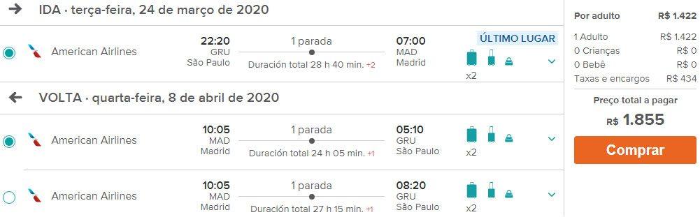 passagens promocionais espanha