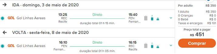 Passagens aéreas promocionais Fernando de Noronha